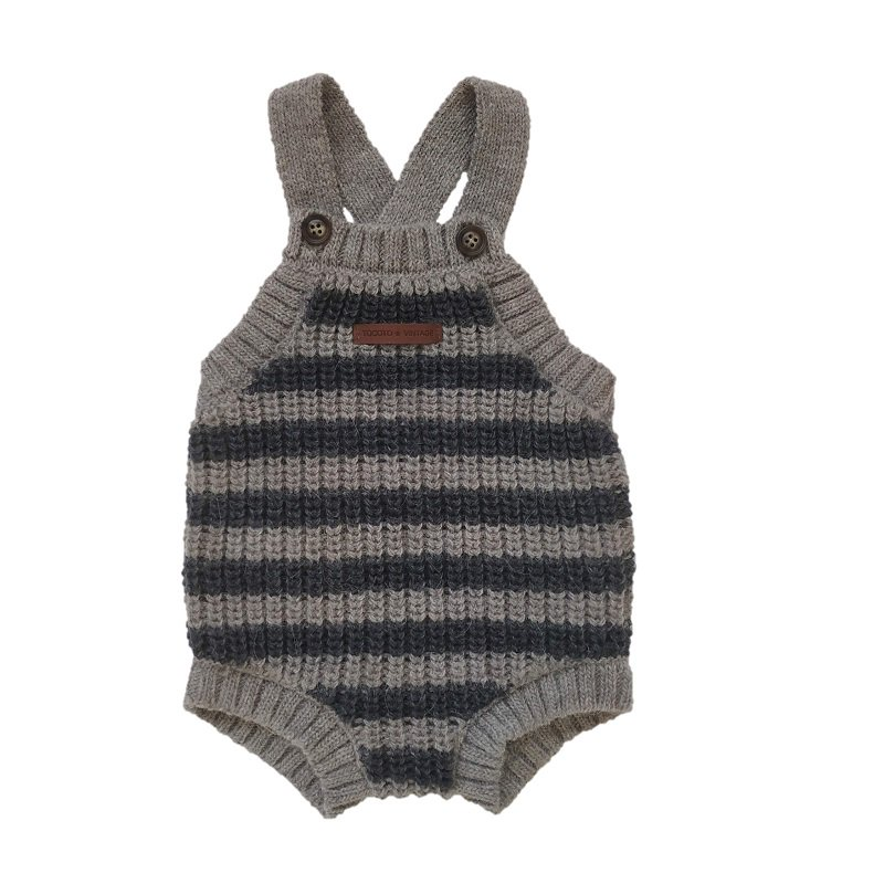 【30%OFFセール】tocoto vintage(トコト ヴィンテージ)2020AW <br>Striped knitted body<BR>ストライプ柄ニットロンパース