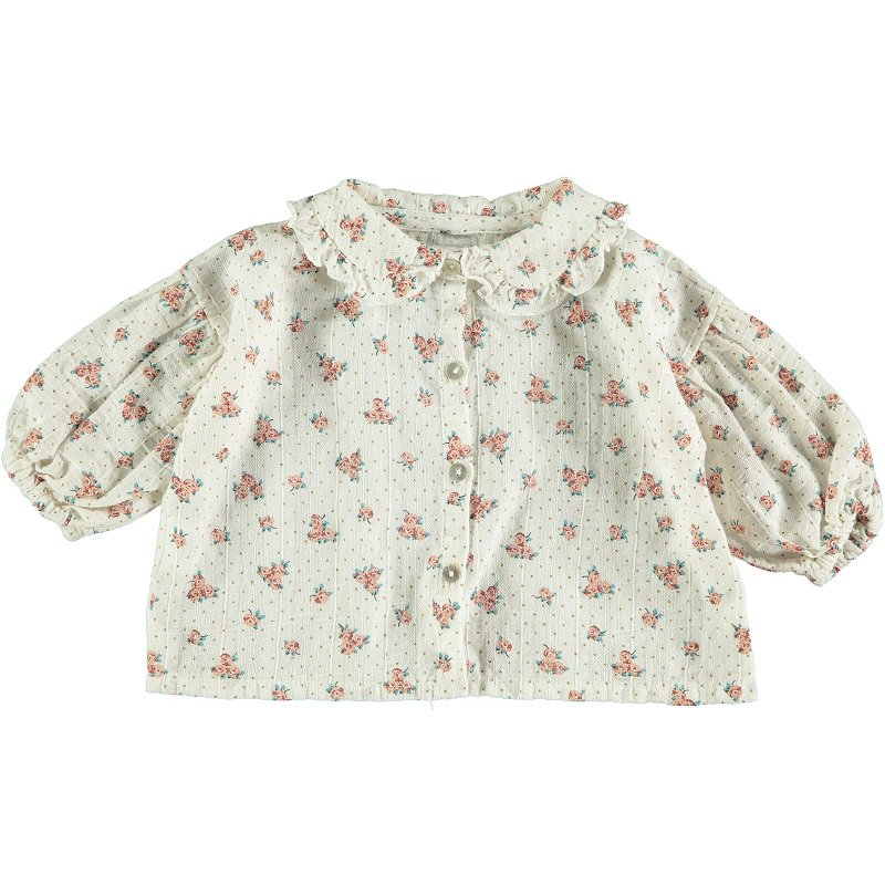 【30%OFFセール】tocoto vintage(トコト ヴィンテージ)2020AW <br>Flower print blouse with puf sleeves<BR>コットン花柄ブラウス