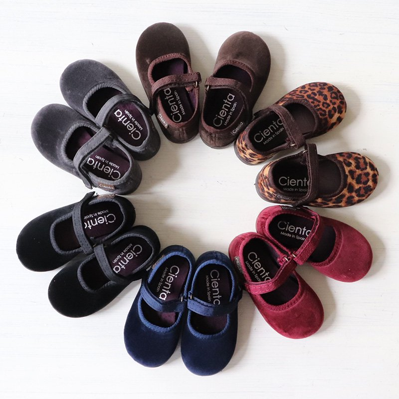 Cienta(シエンタ)<br>キッズ ベルクロワンストラップ シューズ ベロア靴<br>(バレエシューズ、フォーマル靴)<BR>400-050,400-075