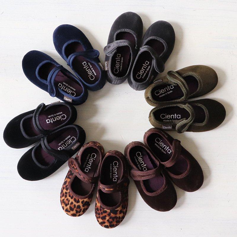 Cienta(シエンタ)<br>キッズ ストラップ フォーマルシューズ ベロア靴<BR>(バレエシューズ)<BR> 500-075