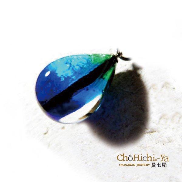 七海ガラス ケラマブルーネックレス/M 【KN-4】 証明書付