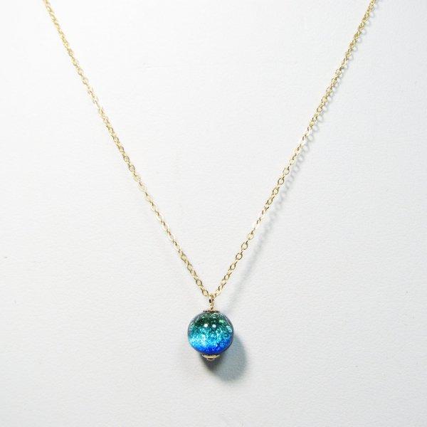 七海ガラス ケラマブルーネックレス/14KGF 【K-GF-nec11-1】 証明書付