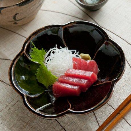飴釉花皿(小)