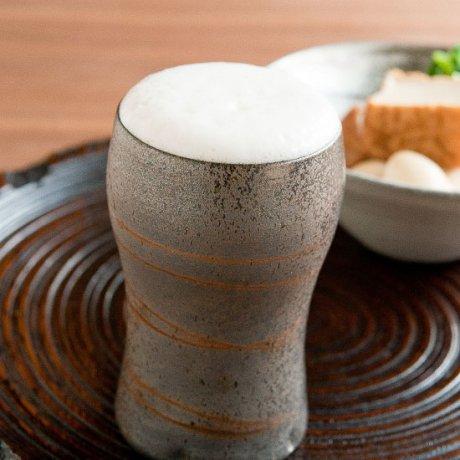 焼締めビアカップ