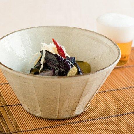 粉引ソギ切立6寸深鉢