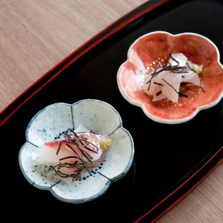梅形豆皿(白・紅)