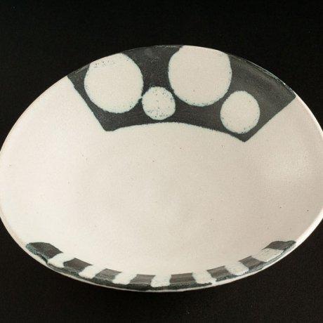 長石釉丸文ストライプパスタ皿