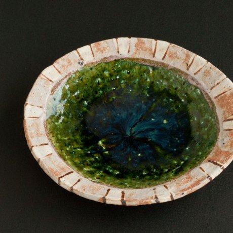 織部楕円ストライプ平鉢