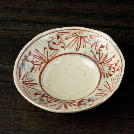 安南赤絵4寸リム鉢