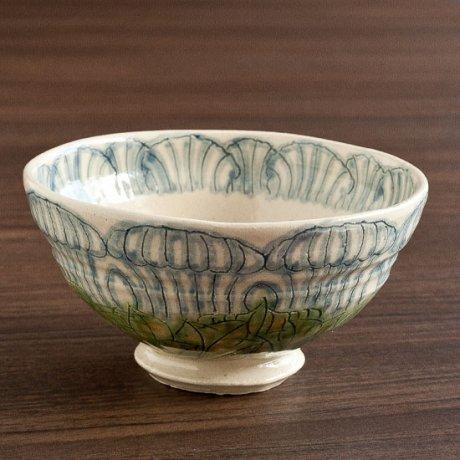 牡丹文飯碗(青)