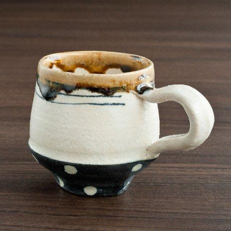 白化粧線刻黒巻白ドットコーヒーカップ