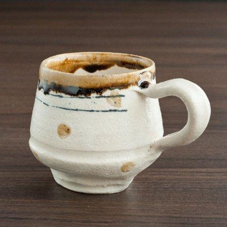 白化粧線刻黄ドットコーヒーカップ