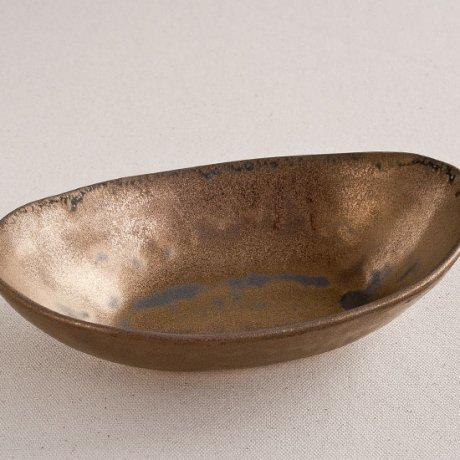 金泥釉舟形小鉢