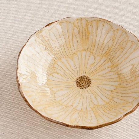 牡丹文5寸浅鉢(黄)