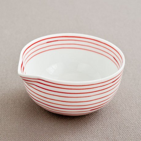 ラインライン片口豆鉢(赤)