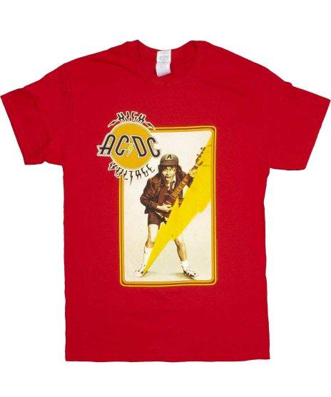 AC/DC HIGH VOLTAGE ANGUS banndo バンドTシャツカラー:ブラック<br>サイズ:S〜L<br>ハイボルテージのデザイン