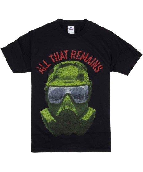 オール ザット リメインズ ( All That Remains ) Army Mask バンドTシャツカラー:ブラック<br>サイズ:S〜L<br>グリーンのガスマスクのデザインです。