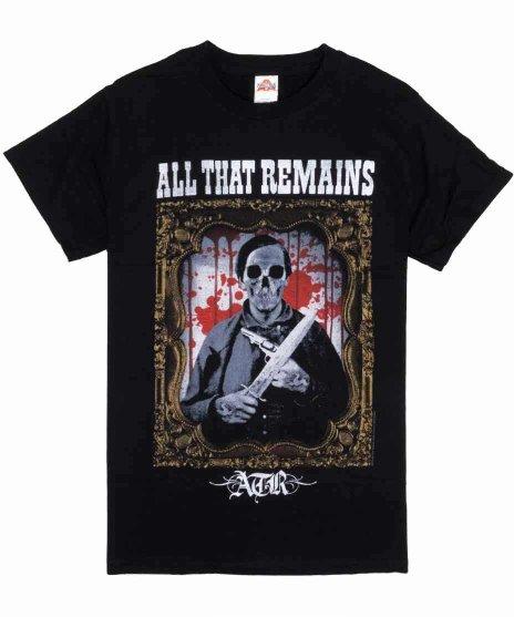 オール ザット リメインズ ( All That Remains ) Deadman バンドTシャツカラー:ブラック<br>サイズ:S,M<br>額縁に入ったスカルのデザインです。
