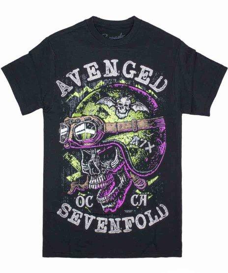 アヴェンジド セブンフォールド ( Avenged Sevenfold ) Helmet バンドTシャツカラー:ブラック<br>サイズ:S<br>スカルにヘルメットのデザインです。