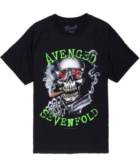 アヴェンジド セブンフォールド ( Avenged Sevenfold ) Born For War バンドTシャツカラー:ブラック<br>サイズ:S〜L<br>スカルにサングラスと葉巻のデザインです。