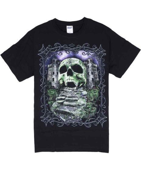 スカルキャッスル メンズTシャツカラー:ブラック<br>サイズ:M<br>古い城の入り口がスカルになっているデザインです。