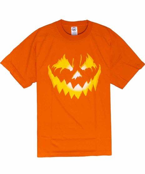 ジャックオーランタン メンズTシャツカラー:オレンジ<br>サイズ:L<br>ジャックオーランタンのデザインです。