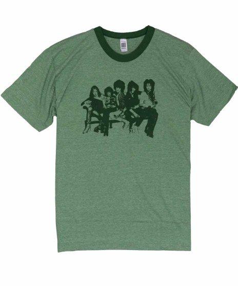ニューヨーク ドールズ ( New York Dolls ) Heather Green Ringer バンドTシャツカラー:グリーン<br>サイズ:L<br>メンバーのグループショットのデザインです。
