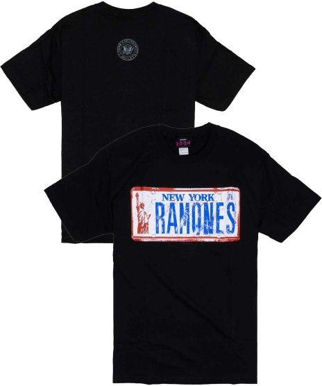 ラモーンズ ( Ramones ) License Plate バンドTシャツカラー:ブラック<br>サイズ:S〜L<br>New Yorkのナンバープレートのデザインです。