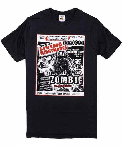 Rob Zombie Nightmare Mのみ バンドTシャツカラー:ブラック<br>サイズ:S,M<br>Dr Draculas Den of Living Nightmaresのフライヤー風デザイン。