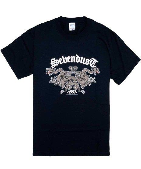 セブンダスト ( Sevendust ) Dragons バンドTシャツカラー:ブラック<br>サイズ:M<br>二匹のドラゴンとバンドロゴのデザインです