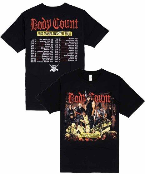 ボディー カウント ( Body Count ) 2014 Manslaughter ツアー  バンドTシャツカラー:ブラック<br>サイズ:S〜L<br>2014年のManslaughterツアーのデザインです。