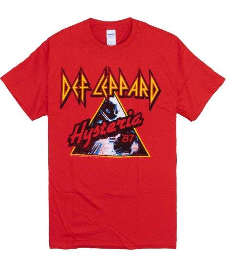 デフ レパード ( Def Leppard ) Hysteria 87 バンドTシャツカラー:レッド<br>サイズ:S〜L<br>アルバムヒステリアのデザインです