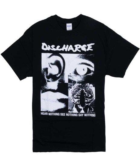 ディスチャージ ( Discharge ) バンドTシャツ Hear Nothing カラー:ブラック<br>サイズ:S〜XL<br>アルバムHear Nothing...のデザインです