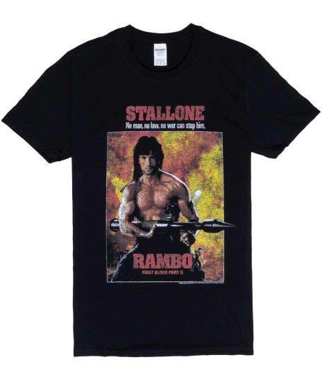 映画  ランボー ( RAMBO ) Part 2 怒りの脱出 メンズTシャツカラー:ブラック<br>サイズ:S〜L<br>ランボー怒りの脱出のポスターデザインです。