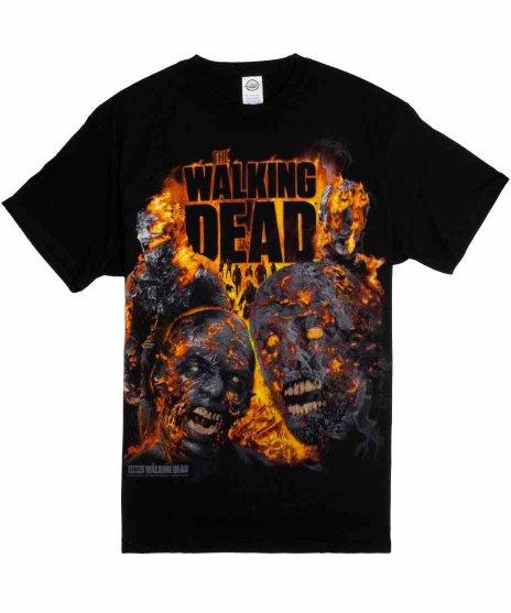 ウォーキング デッド ( Walking Dead ) TVドラマ Fire Roasted  Tシャツカラー:ブラック<br>サイズ:S〜L<br>二体のウォーカーが燃えているデザイン