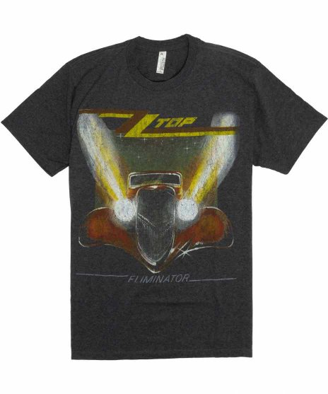 ZZトップ ( ZZ Top ) Eliminator バンドTシャツカラー:チャコール<br>サイズ:S〜L<br>名盤エリミネーターのジャケットのデザイン