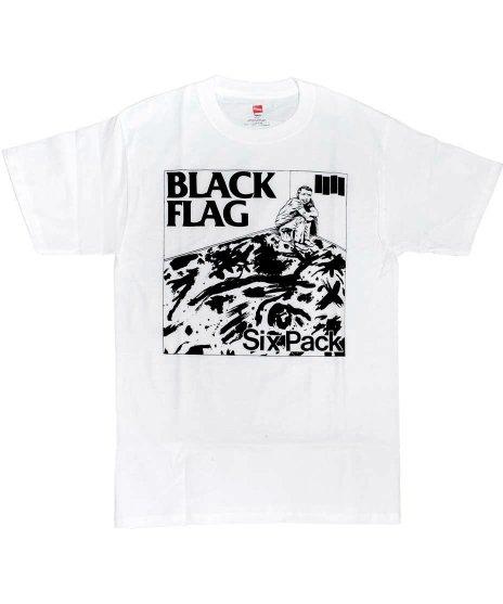 Black Flag (ブラック・フラッグ) Six Pack バンドTシャツカラー:ホワイト<br>サイズ:S〜L<br>シングルSIX PACKのジャケットのデザインです。