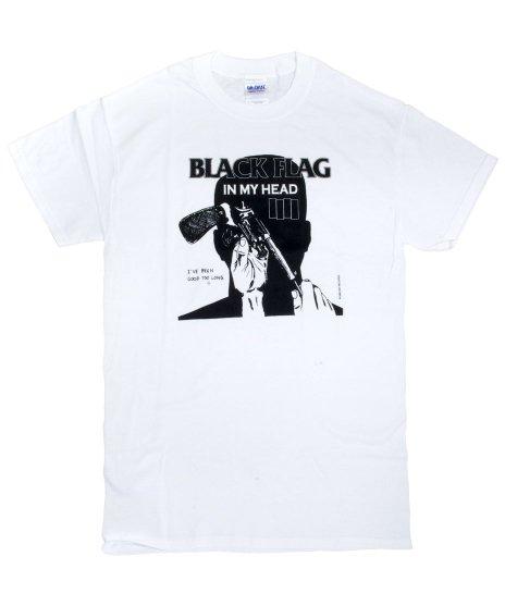 Black Flag(ブラック・フラッグ) In My Head バンドTシャツカラー:ホワイト<br>サイズ:S〜L<br>アルバムIn My Headのデザインです