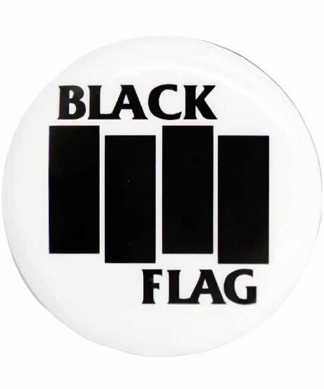 Black Flag(ブラック・フラッグ) バンド缶バッチ ロゴカラー:ホワイト<br>サイズ:32�<br>ブラックフラッグのロゴをデザイン