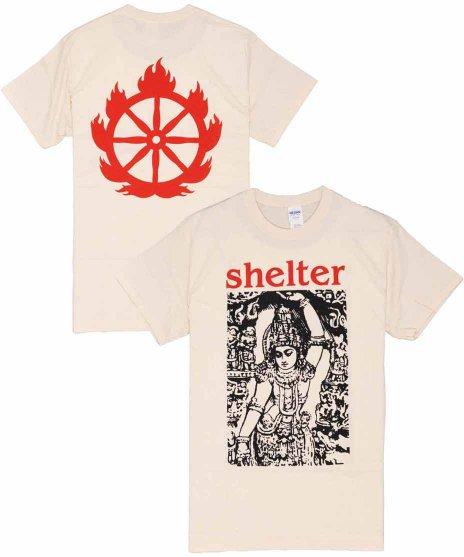 シェルター ( Shelter ) Logo バンドTシャツカラー:ベージュ<br>サイズ:S〜L<br>シェルターのバックにロゴと、フロントにインドの神のデザインです。