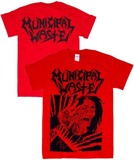 ミュニシパル ウェイスト ( Municipal Waste ) Skelbot バンドTシャツカラー:レッド<br>サイズ:S〜L<br>フロントにSKELBOT。バックにバンドの名のロゴのデザイン