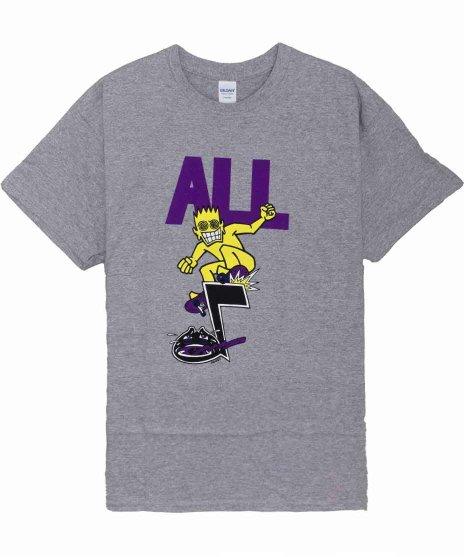 All ( オール ) Skateroy バンドTシャツカラー:グレー<br>サイズ:S〜L<br>ALLROYがスケートに乗ってるイラストデザインです。