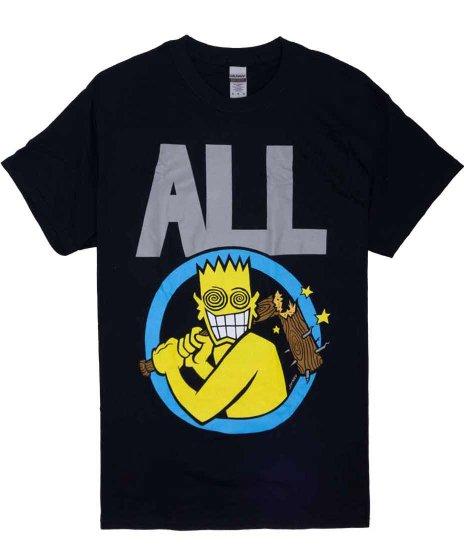All ( オール ) Allroy Broken Bat Tee バンドTシャツカラー:ブラック<br>サイズ:S〜L<br>ALLROYがバットを持っているデザインです
