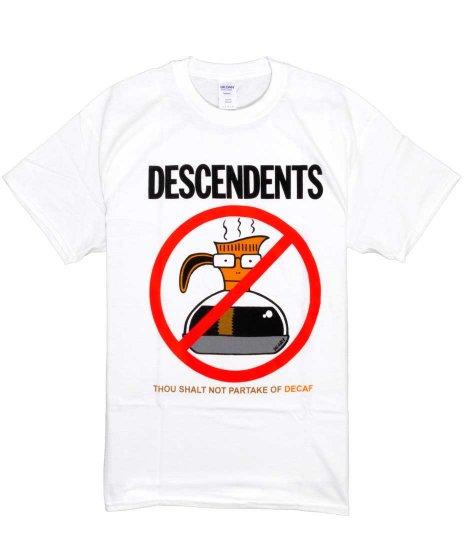 ディセンデンツ ( Descendents ) Thou Shall Not Partake Of Decaf バンドTシャツカラー:ホワイト<br>サイズ:S〜L<br>コーヒーのガラス容器にマイロのデザインです