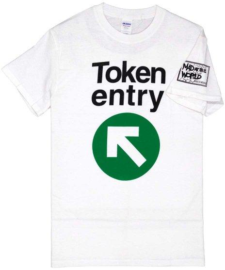 トークン エントリー ( Token Entry ) ロゴ バンドTシャツカラー:ホワイト<br>サイズ:S〜L<br>かなりシンプルなグリーンのバンドロゴとバンド名のデザインです