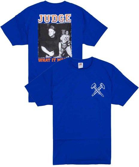 Judge ( ジャッジ ) What It Meant バンドTシャツカラー:ブルー<br>サイズ:S〜L<br>フロントにアークロゴとバックには、マイク・ジャッジのライブフォトのデザインです。