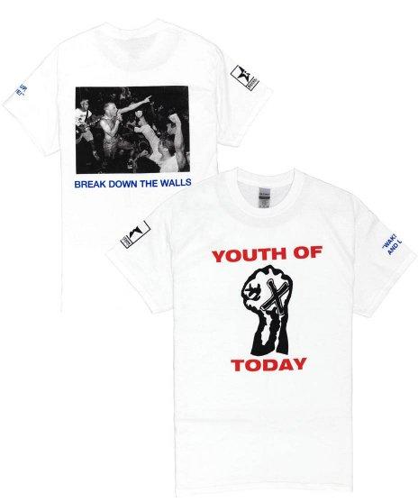ユース オブ トゥデイ ( Youth Of Today ) Break Down The Walls バンドTシャツカラー:ホワイト<br>サイズ:S〜L<br>Brake Down The Wallのデザイン