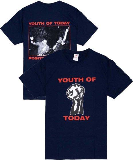ユース オブ トゥデイ ( Youth Of Today ) Positive Outlook【ネイビー】 バンドTシャツカラー:ネイビー<br>サイズ:S〜L<br>フロントに拳にXのロゴと、バックにはライブフォトのデザイン