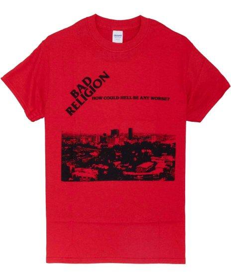 バッド レリジョン ( Bad Religion ) How Could Hell Be Any Worse バンドTシャツカラー:レッド<br>サイズ:S〜L<br>1stアルバムのジャケットをデザイン