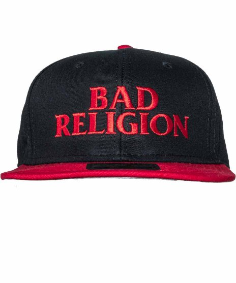 バッド レリジョン ( Bad Religion ) 6パネルスナップバックキャップ  バンドロゴカラー:ブラック・レッド<br>サイズ:ワンサイズ<br>ブラックにレッドの文字でロゴが刺繍されたデザイン
